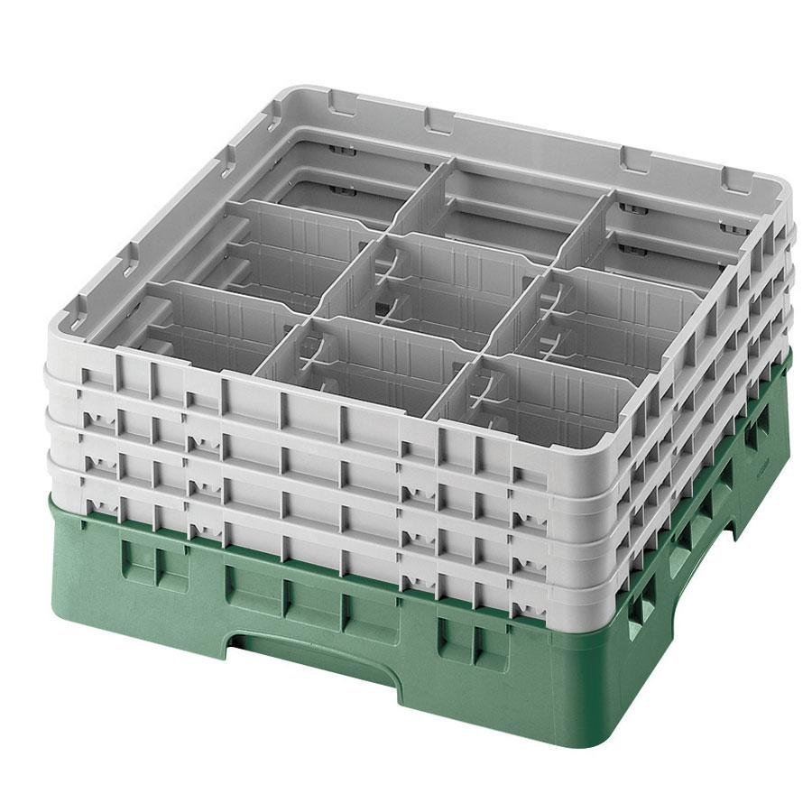 "Cambro 9S958119 Sherwood Green Camrack 9 Compartment 10 1/8"" Glass Rack"
