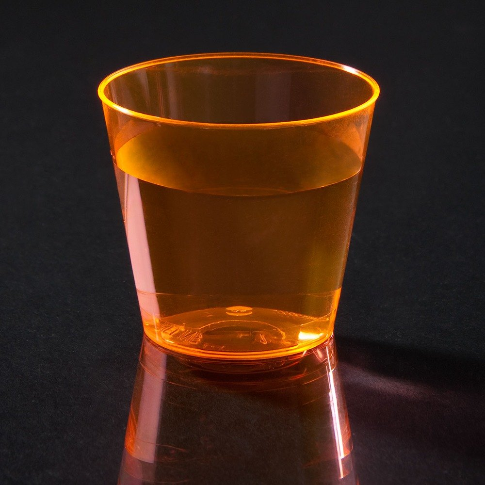 Fineline Quenchers 401ORG 1 oz. Neon Orange Hard Plastic Shot Cup 5