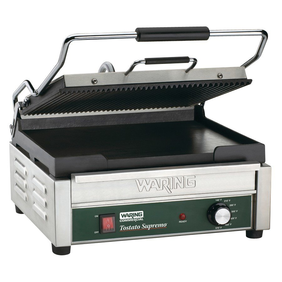 "Waring WDG250 14 1/2"" x 11"" Grooved Top & Smooth Bottom Panini Sandwich Grill 120V"