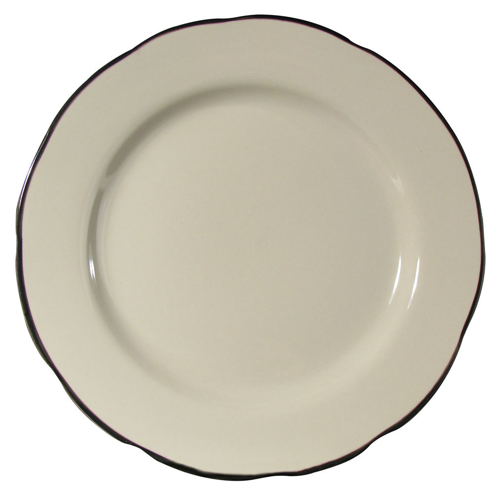 "CAC SC-16B Seville 10 3/4"" Ivory (American White) Scalloped Edge China Plate with Black Band - 12/Case"