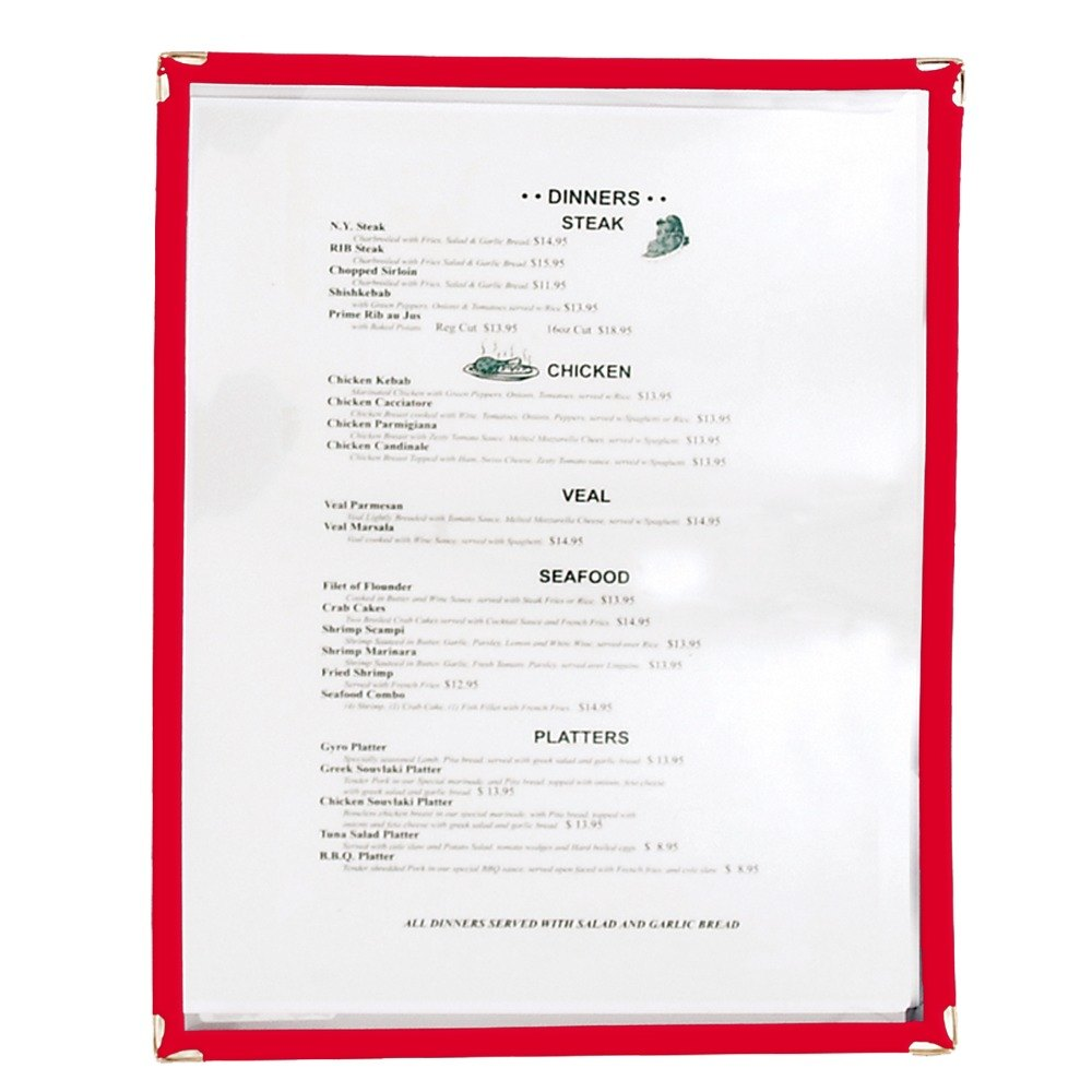 8 1/2 inch x 11 inch Single Pocket Menu Cover - Red