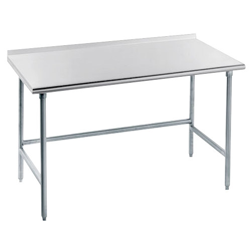 "Advance Tabco TFLG-303 30"" x 36"" 14 Gauge Open Base Stainless Steel Commercial Work Table with 1 1/2"" Backsplash"