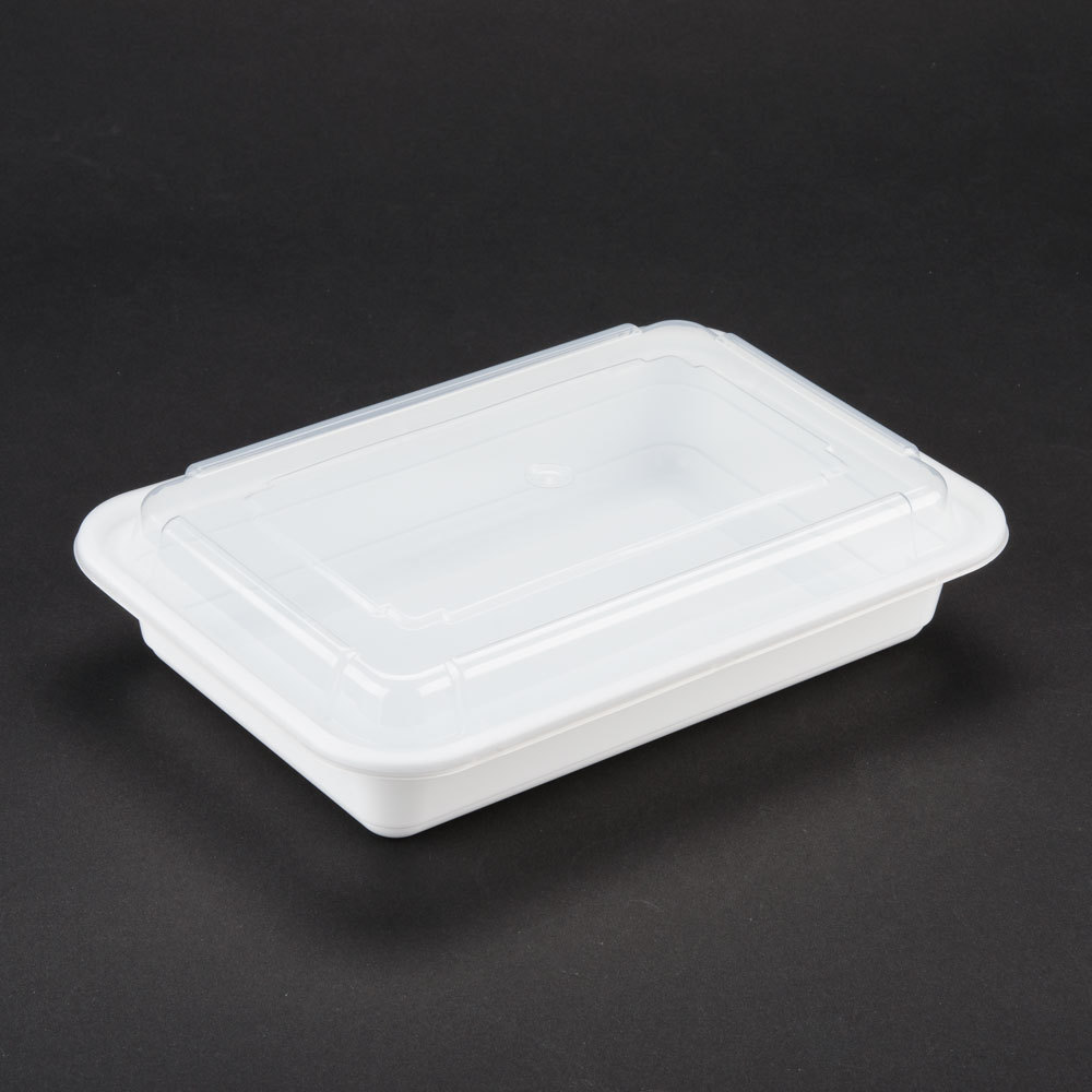 Newspring NC-868 White 28 oz. VERSAtainer 6 inch x 8 1/2 inch x 1 1/2 inch Rectangular Microwavable Container with Lid 150/Case