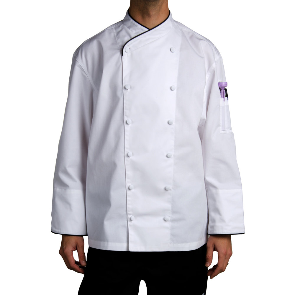 Chef Revival J008-5X Chef-Tex Size 64 (5X) Customizable Poly-Cotton Corporate Chef Jacket with Black Piping
