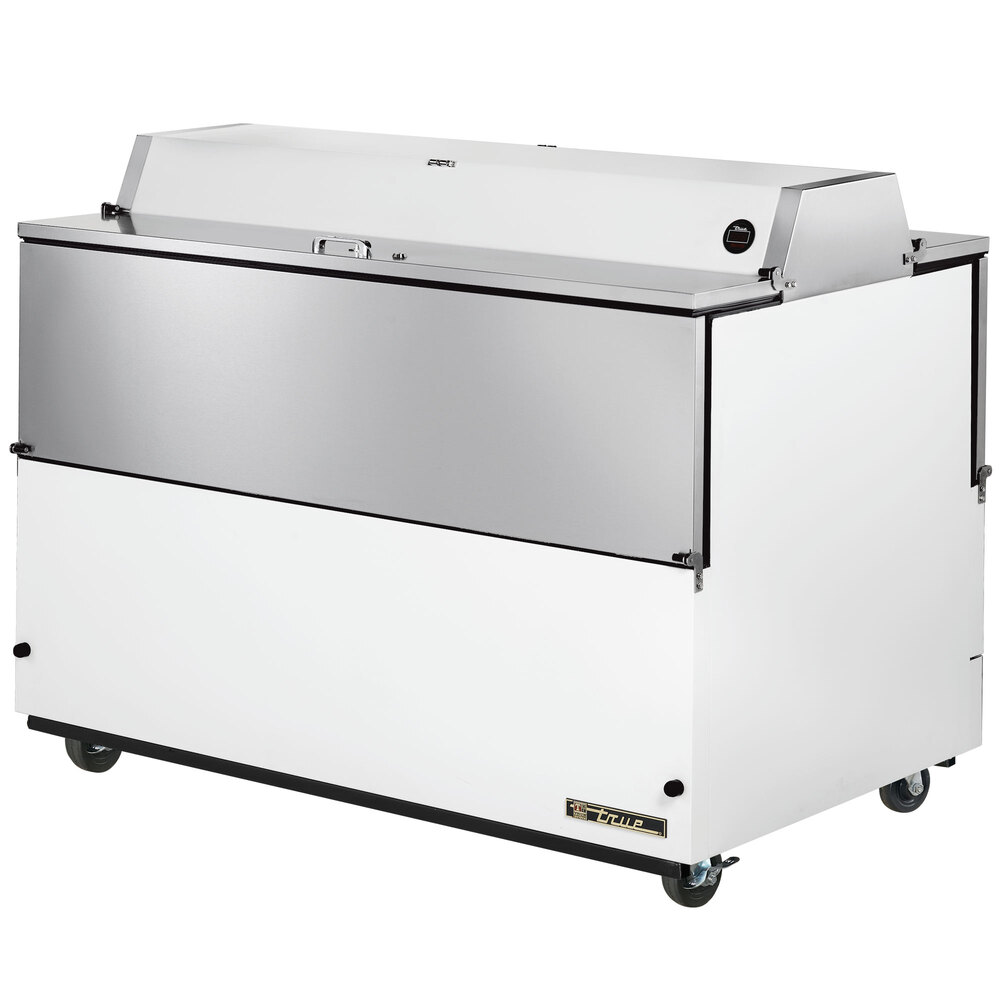"True TMC-58-DS-SS 58"" White Two Sided Milk Cooler with Stainless Steel Interior"