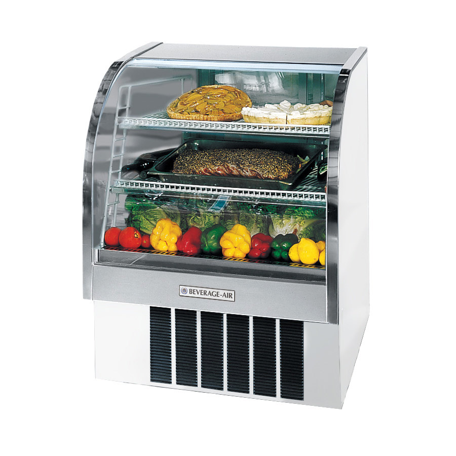 Beverage Air (Bev Air) CDR3/1-W White Curved Glass Refrigerated Bakery Display Case 37 inch - 13.4 Cu. Ft.