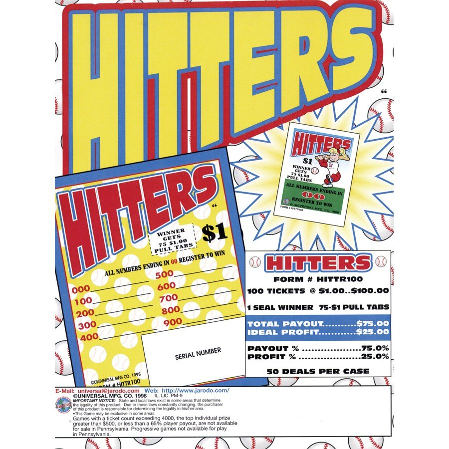 """Hitters"" 1 Window Pull Tab Tickets - 100 Tickets Per Deal - Total Payout: $75 at Sears.com"