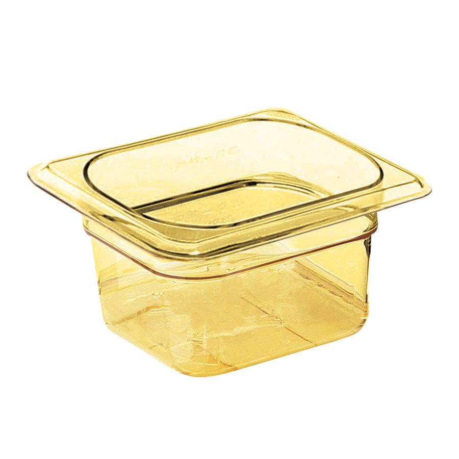 Cambro 66HP150 Amber H-Pans 6 inch Deep 1/6 Size High Heat Food Pan