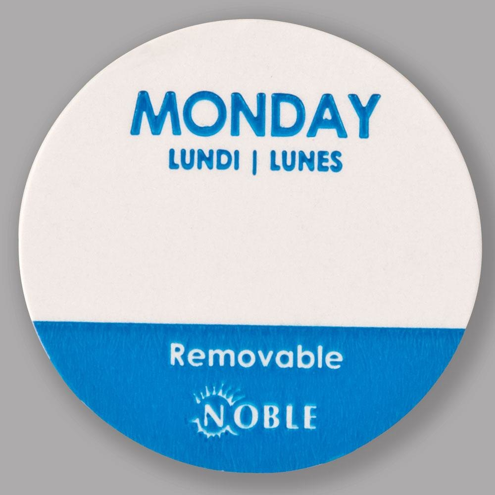Noble Monday Removable Day of the Week Dot Label 1 inch – 1000 / Roll