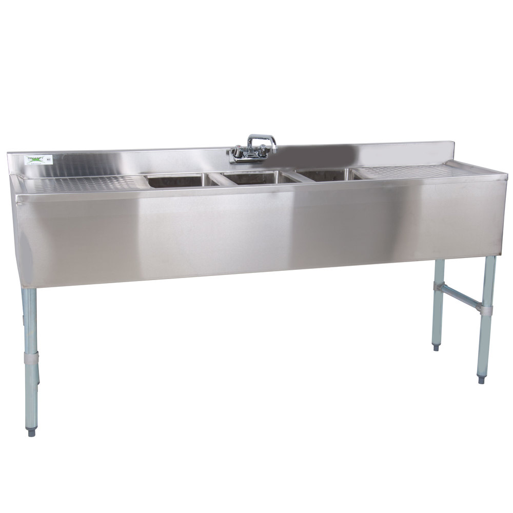 3 Faucet Sink : Regency 3 Bowl Under Bar Sink with Faucet and Two 19