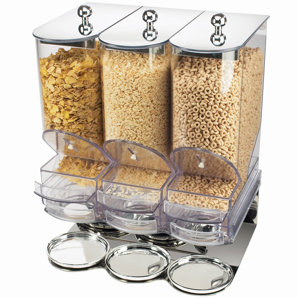 Cal-Mil 718 Three Bin Portion Control Cereal Dispenser with Metal tops and Base