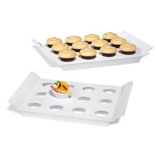 "GET ML-291-W San Michele Collection 18"" x 13"" White Melamine Display Tray with Round Slots"