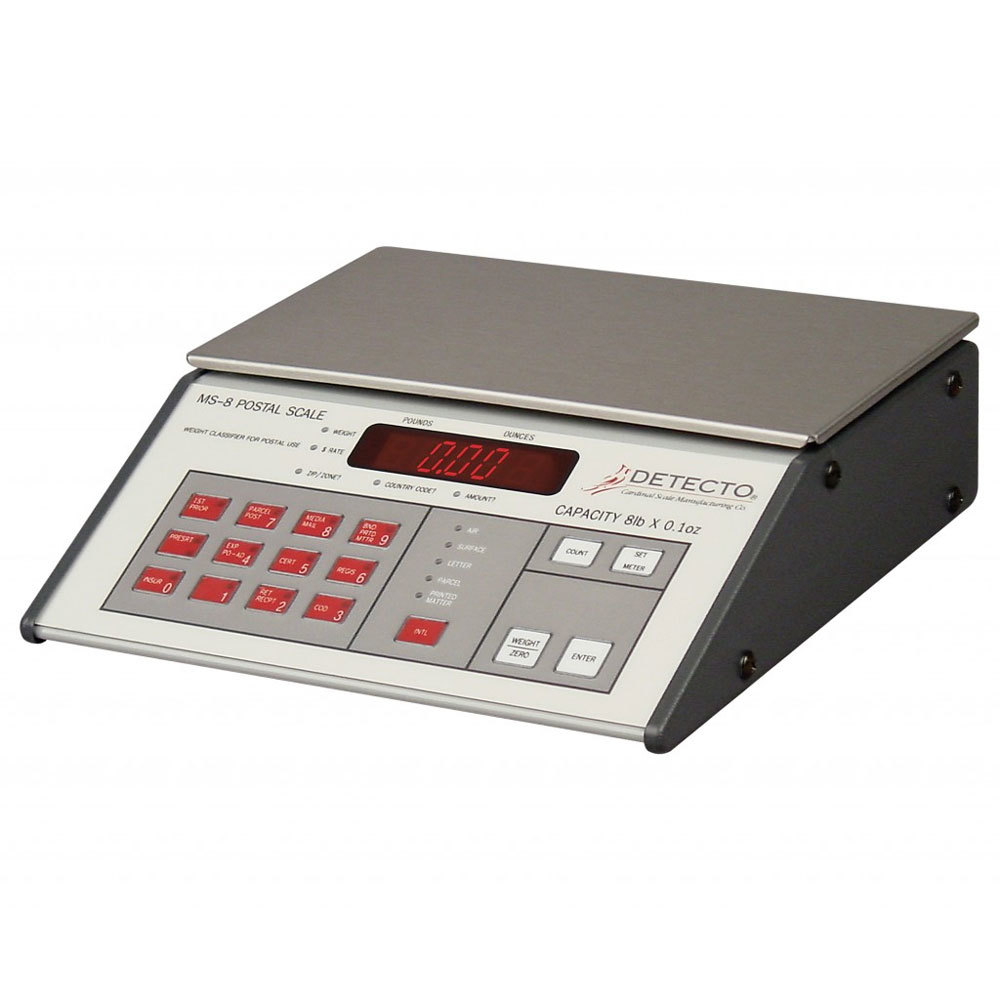 Cardinal Detecto MS-8 8 lb. Digital Mailing and Shipping Scale, Legal for Trade