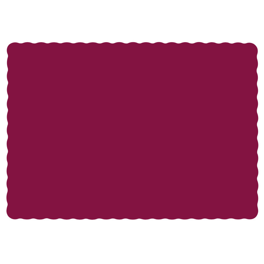 "Hoffmaster 310524 10"" x 14"" Burgundy Colored Paper Placemat with Scalloped Edge - 1000/Case"