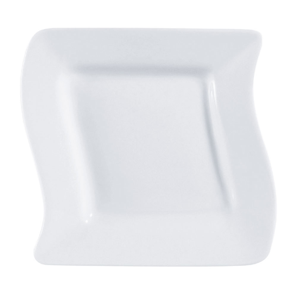 "CAC SOH-8 Soho 8 1/2"" Ivory (American White) Square Stoneware Plate - 24/Case"
