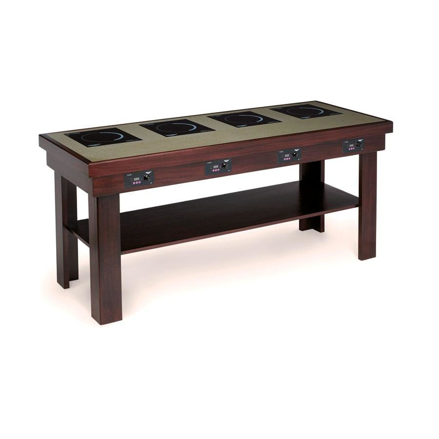 Vollrath 7552382 cherry induction buffet table with 4 - Table induction 4 foyers ...