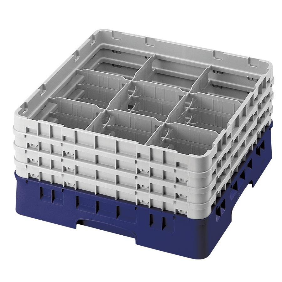 "Cambro 9S958186 Navy Blue Camrack 9 Compartment 10 1/8"" Glass Rack"