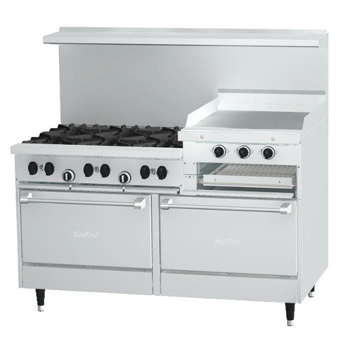 "Liquid Propane Garland SunFire Series X60-6R24RR 6 Burner Gas Range with 24"" Raised Griddle/Broiler and Two Standard Ovens"