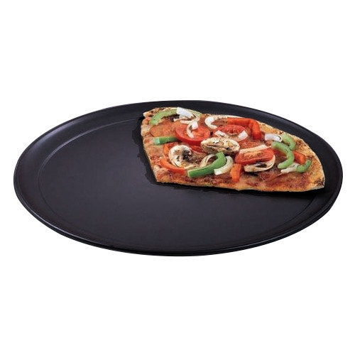 "American Metalcraft HCTP8 8"" Wide Rim Pizza Pan - Hard Coat Anodized Aluminum"