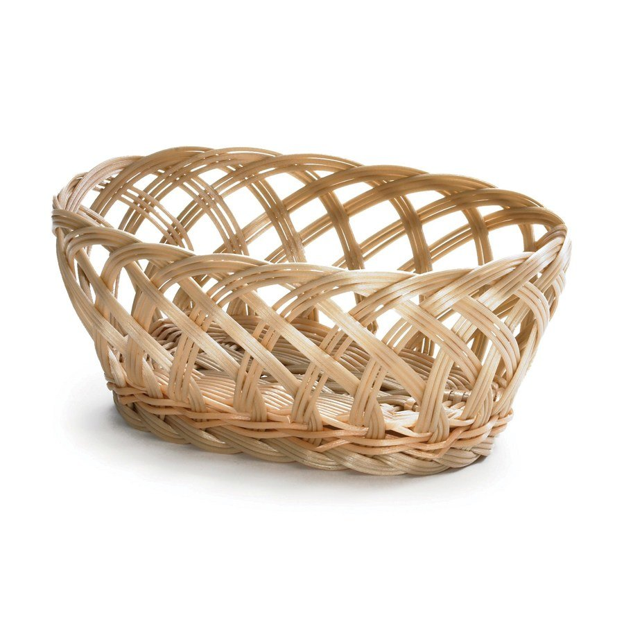 "Tablecraft 1136W Natural Open Weave Oval Rattan Basket 9 1/4"" x 7"" x 3 1/4"" 12 / Pack"