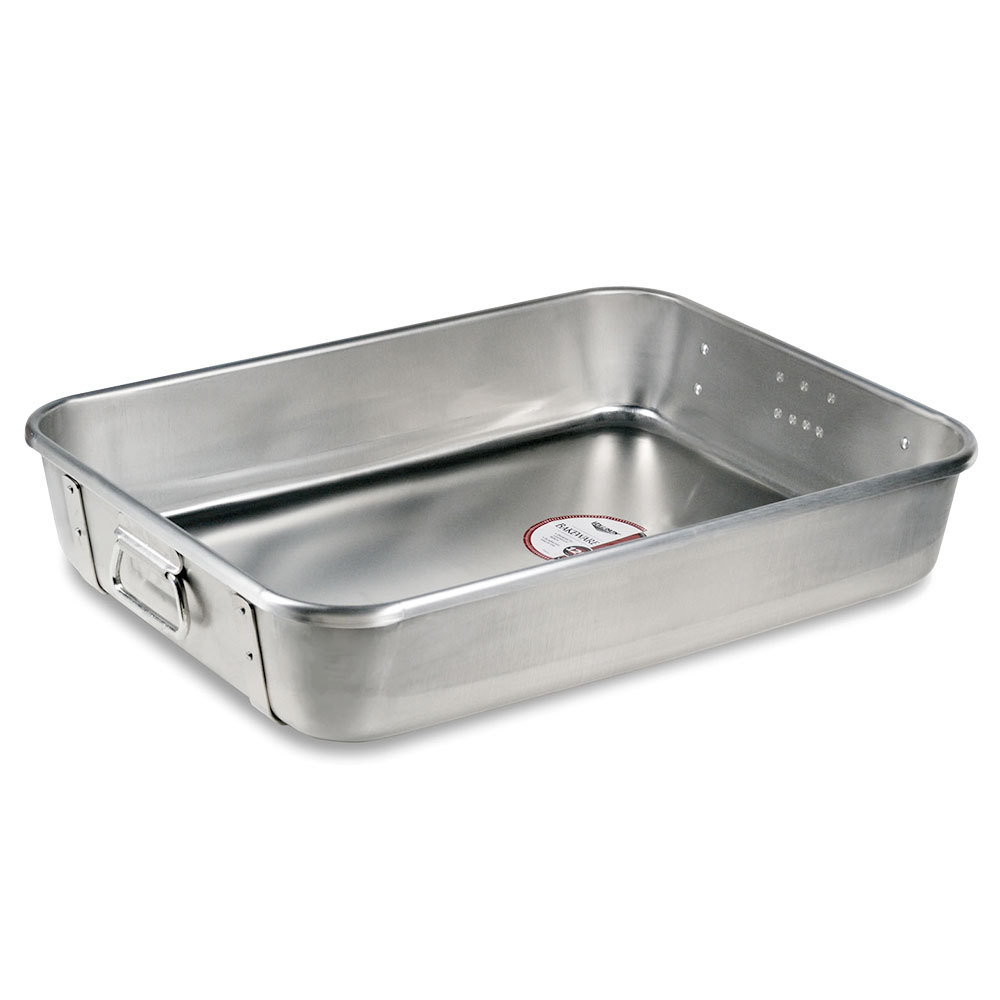 "Vollrath 68361 Wear-Ever 29.5 Qt. Aluminum Roast Pan with Straps and Handles (Top) - 24"" x 18"" x 4 3/4"""