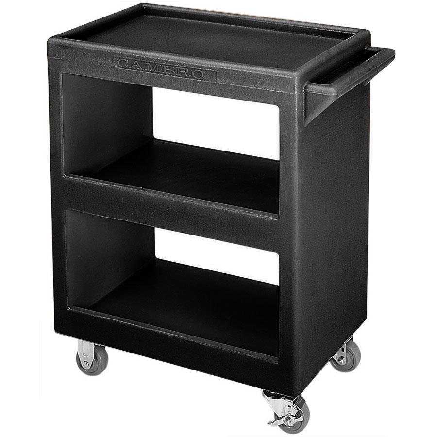 "Cambro BC2254S110 Black Three Shelf Service Cart - 28"" x 16"" x 32 1/4"""