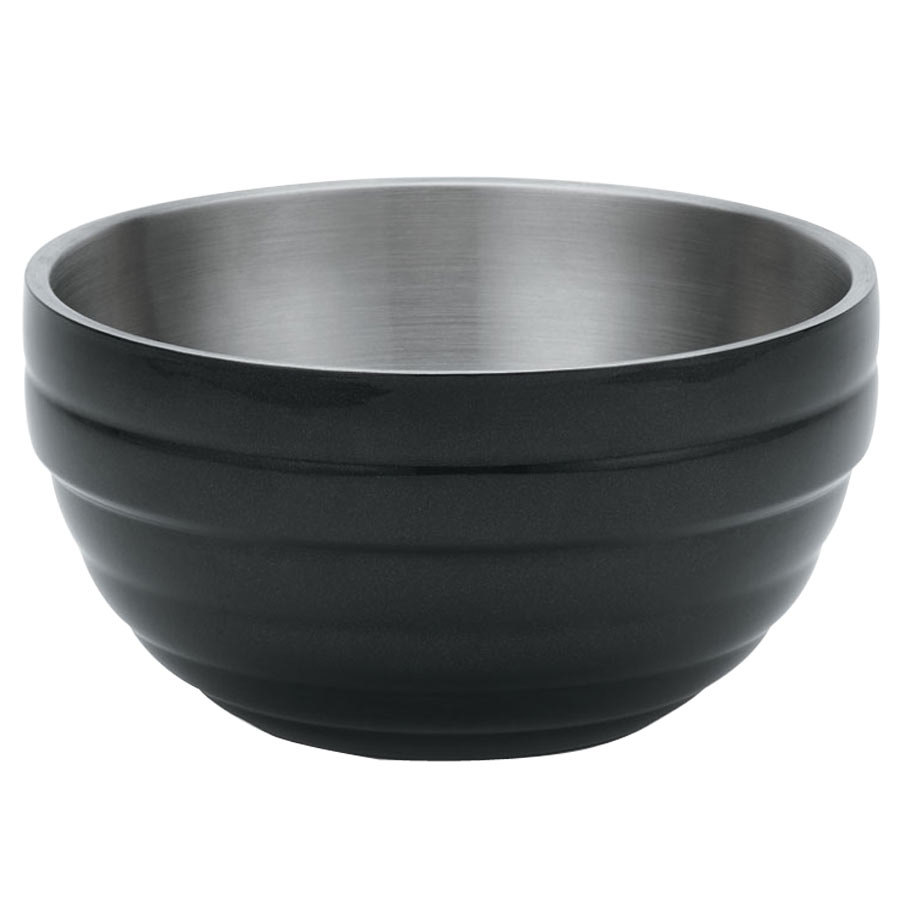 Vollrath 4659260 Double Wall Round Beehive 6.9 Qt. Serving Bowl - Black Black
