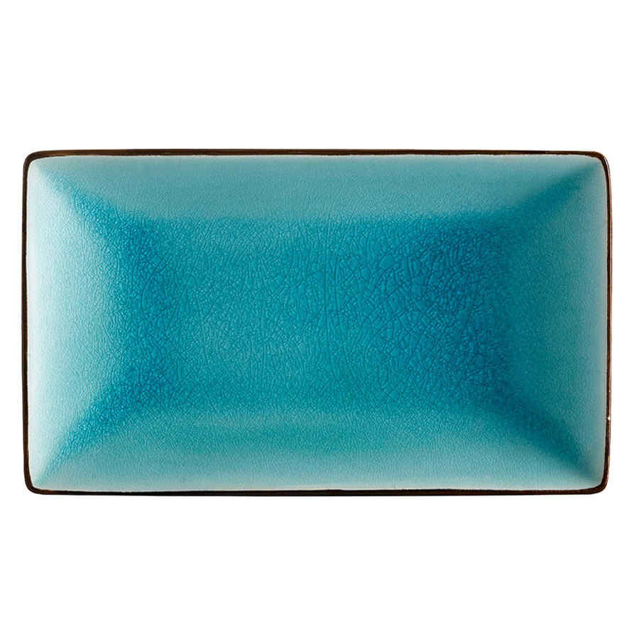 "CAC 666-33-BLU Japanese Style 5"" x 3 1/2"" Rectangular China Plate - Black Non-Glare Glaze / Lake Water Blue - 36/Case"