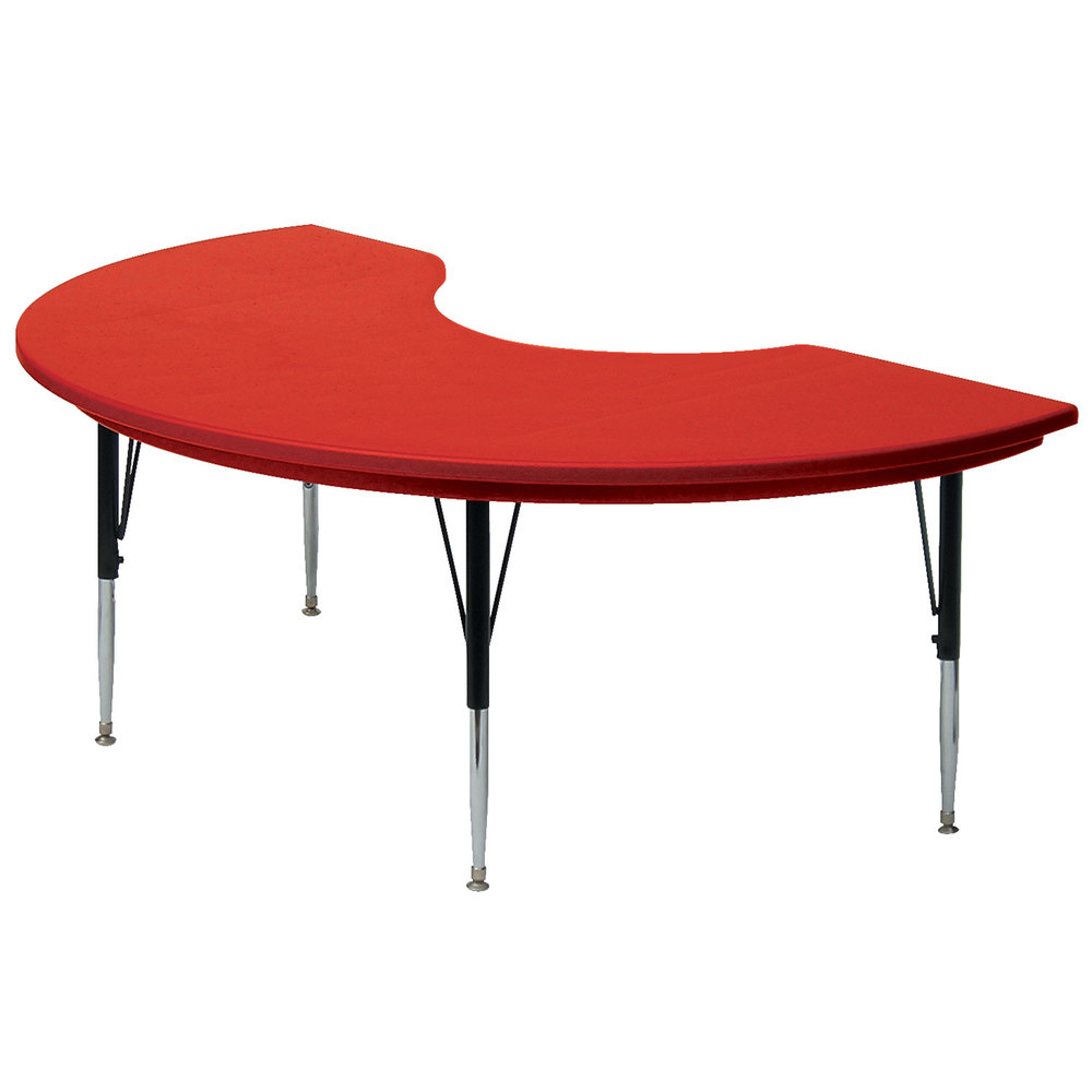 "Correll AR4872 48"" x 72"" Red Plastic Adjustable Height Kidney Table"
