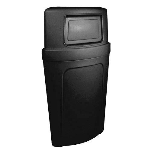 Continental 8325bk black corner 39 round 21 gallon corner trash can with dome lid - Corner wastebasket ...