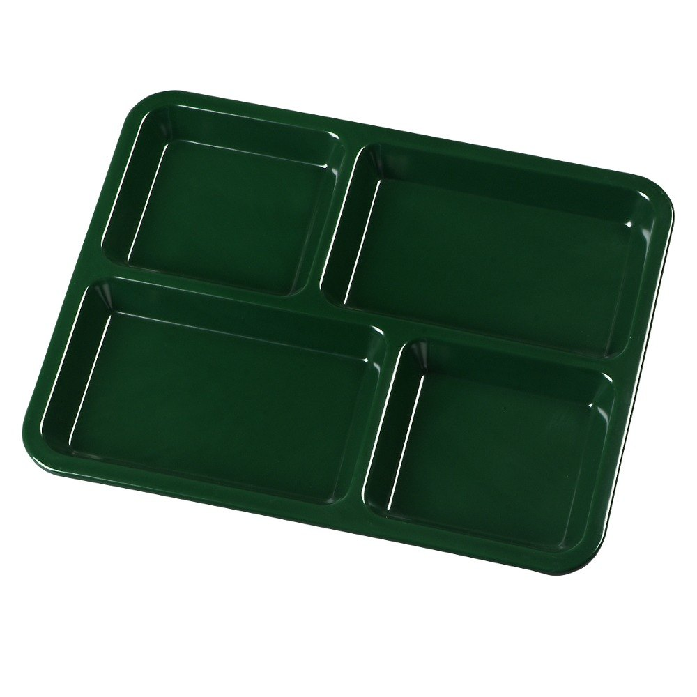 "Carlisle KL44408 4-Compartment Forest Green Melamine Tray - 11"" x 8 11/16"""