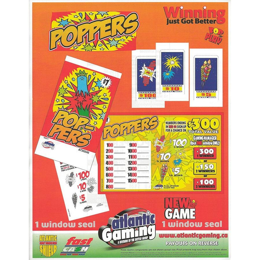 """""""Poppers"""" 1 Window Pull Tab Tickets - 120 Tickets Per Deal - Total Payout: $78 at Sears.com"""