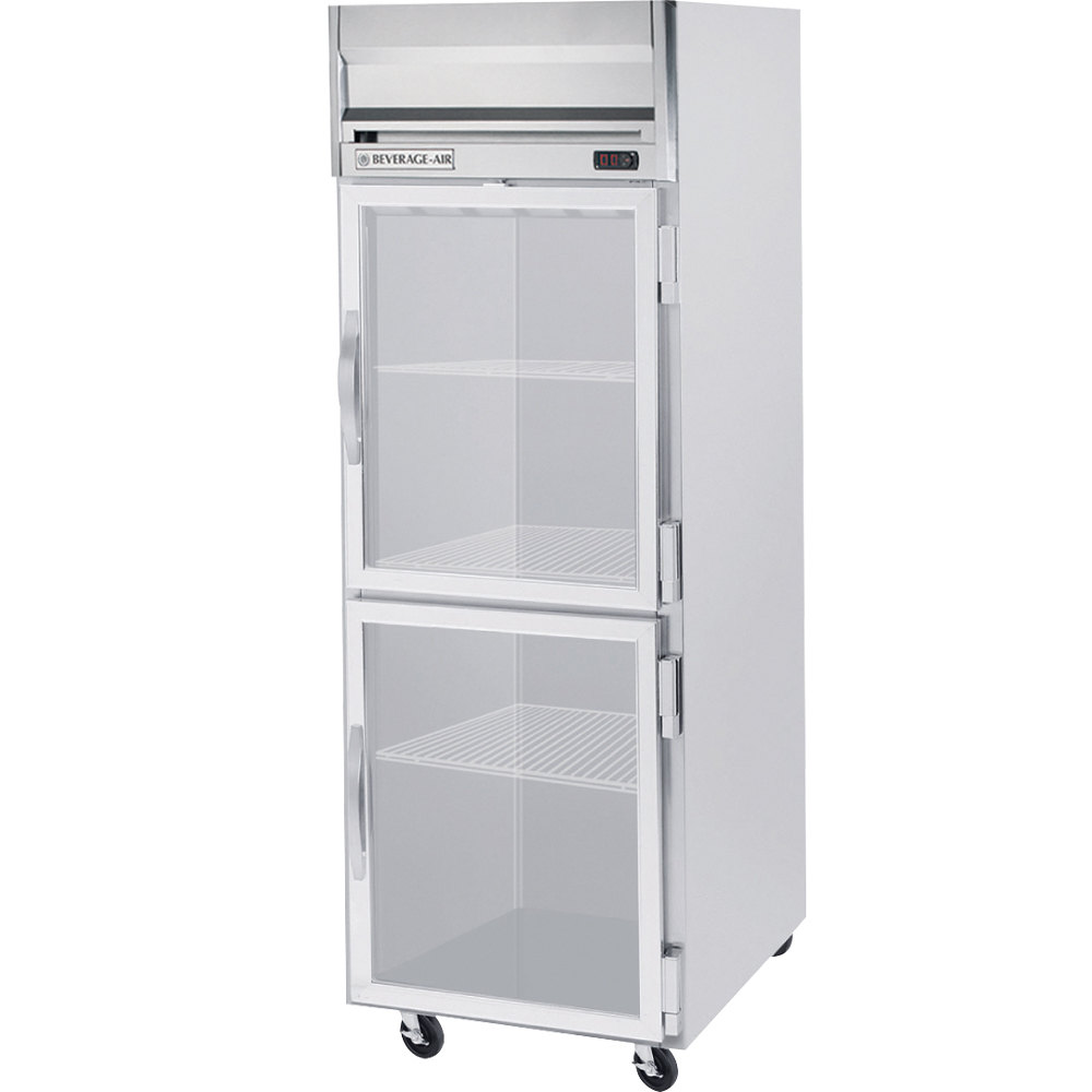 Beverage Air HFS1-1HG-LED 1 Section Glass Half Door Reach-In Freezer - 24 cu. ft., Stainless Steel Front, Gray Exterior, Stainless Steel Interior