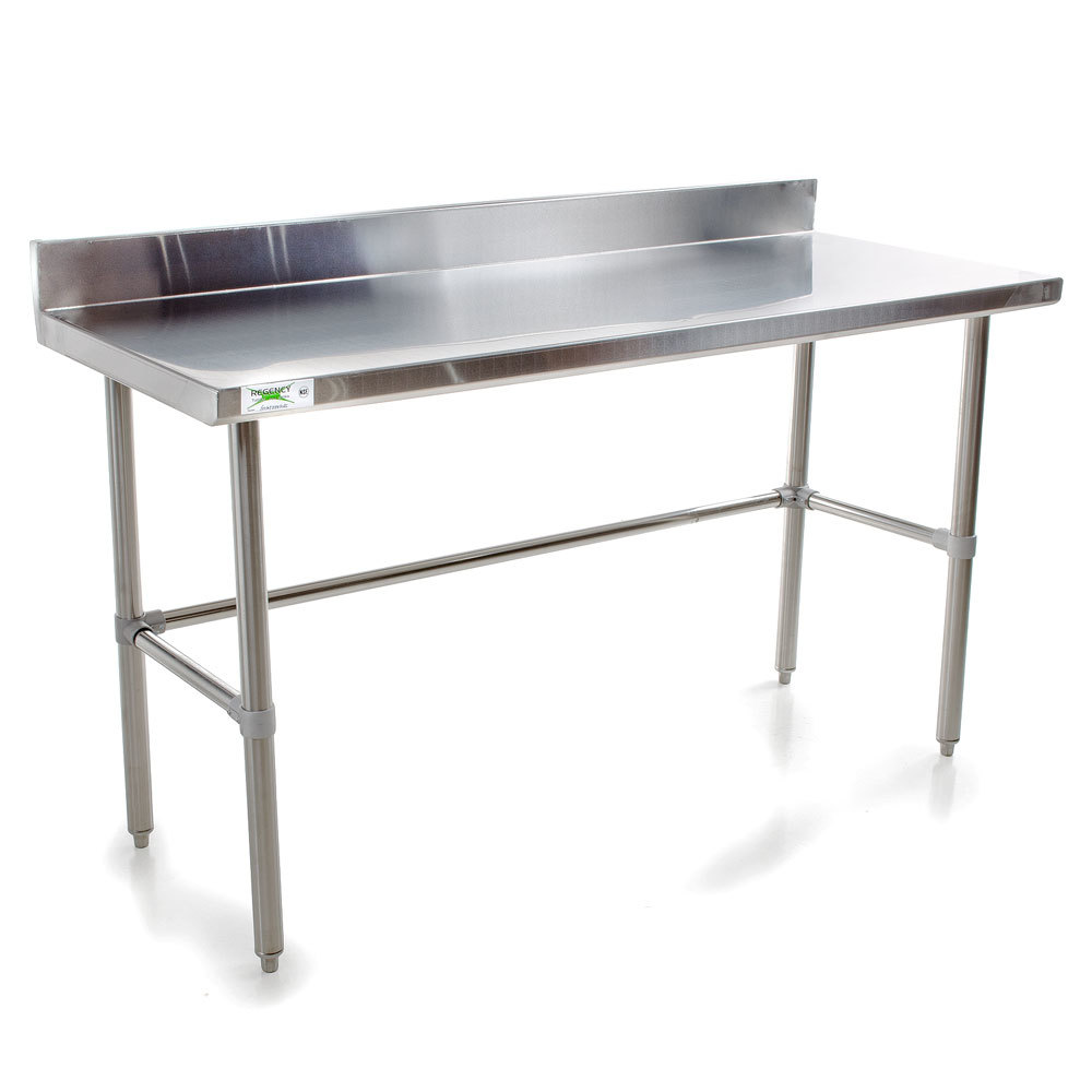 Regency 16 gauge 24 x 60 stainless steel commercial open base work table with backsplash - Steel kitchen tables ...