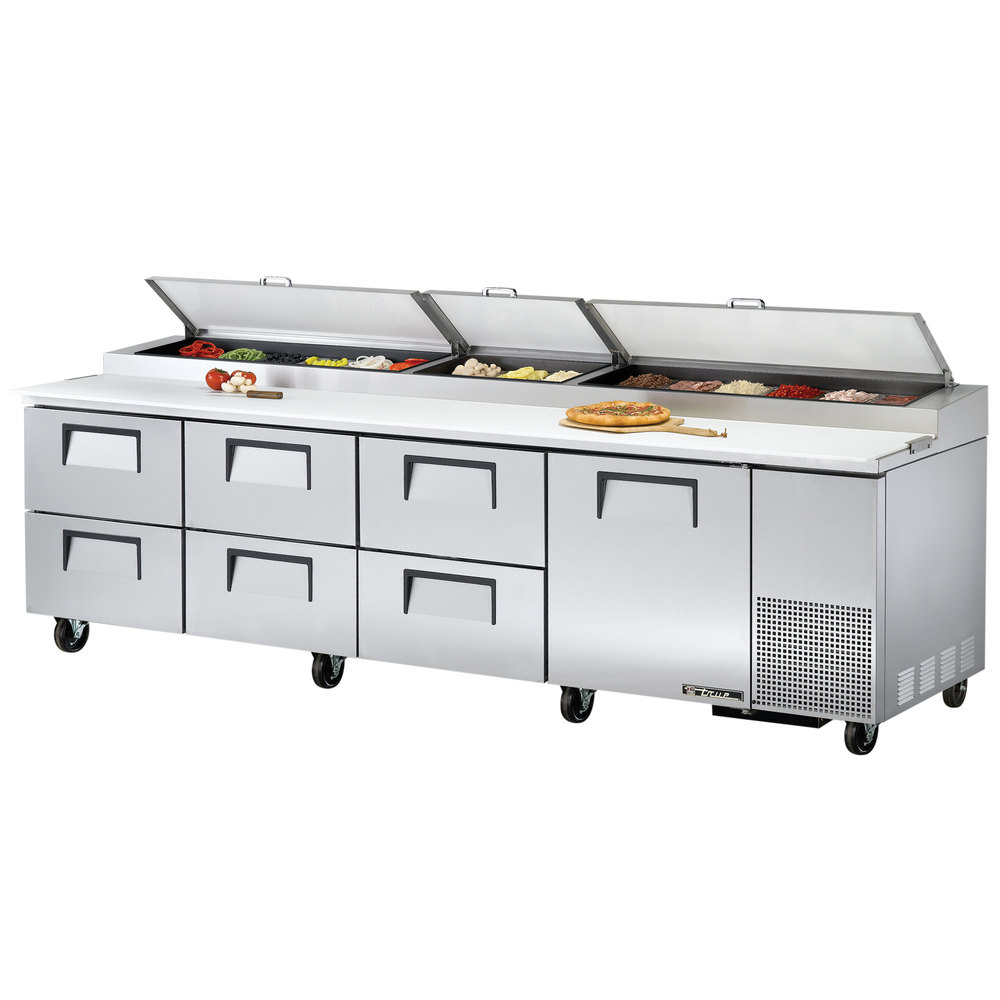 "True TPP-119D-6 119"" Refrigerated Pizza Prep Table with One Door and Six Drawers"