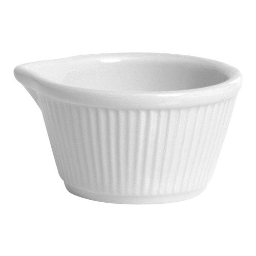 Greenware by Tuxton BWX-0408 4 oz. Fluted Ramekin with Spout - White 48 / Case