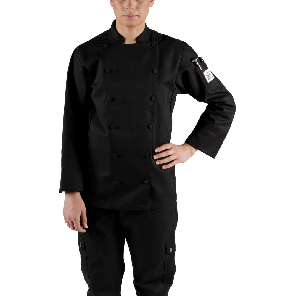 Chef Revival LJ025BK-2X Chef-Tex Size 20 (2X) Black Customizable Ladies Cuisinier Chef Jacket
