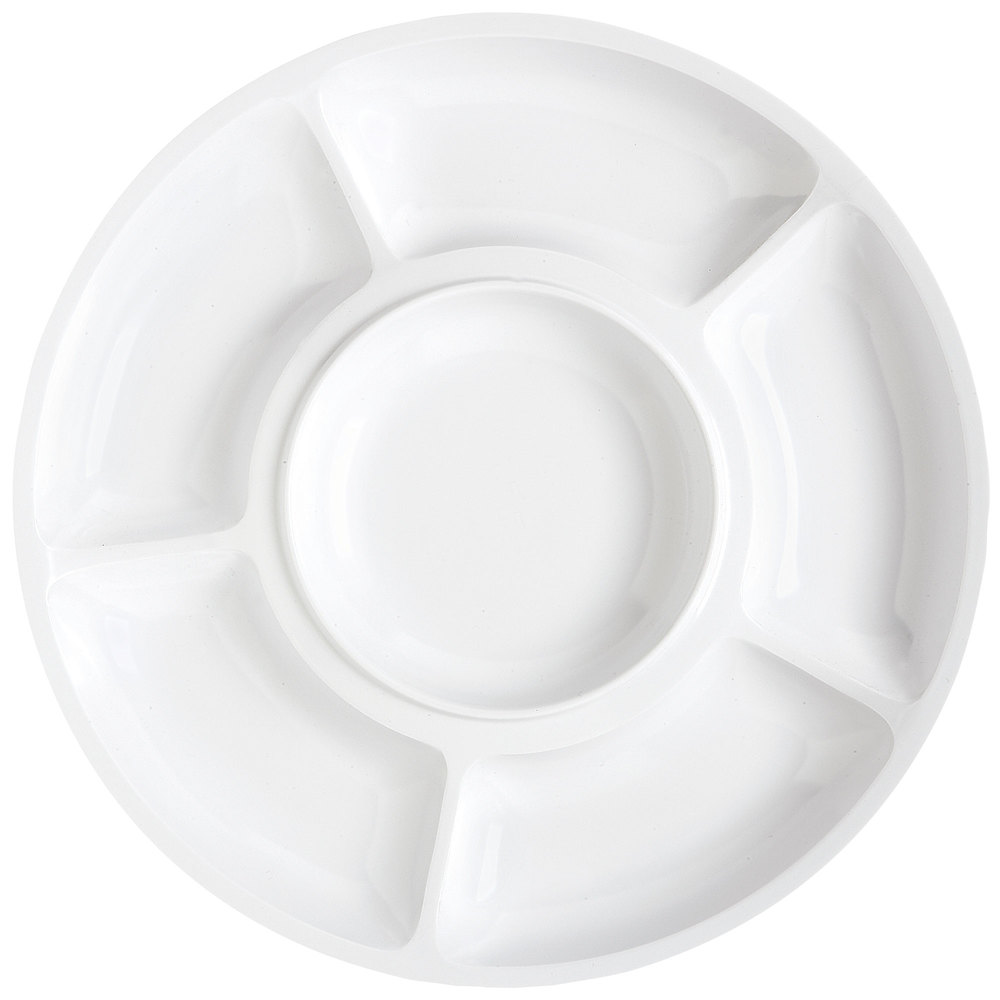"GET APS-6-W Milano 14"" White Round 6 Compartment Plate - 12 / Pack"