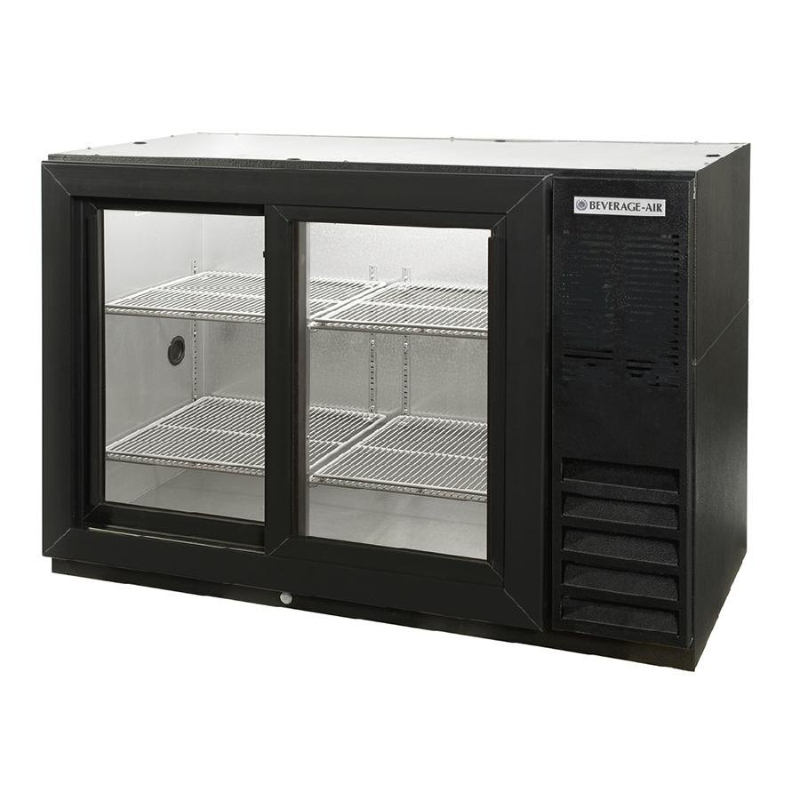 "Beverage Air (Bev Air) BB48GSY-1-B-PT-LED 48"" Black Pass-Thru Back Bar Refrigerator with Sliding Glass Doors - 115V, LED Lightin at Sears.com"