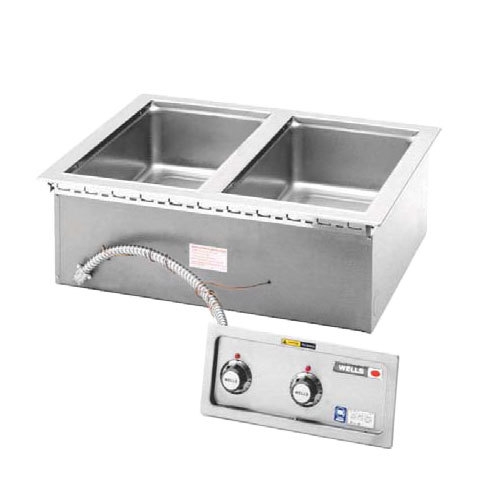 Wells MOD227TDM 2 Well 4/3 Size Drop-In Hot Food Well with Drain Manifolds - Thermostatic Control