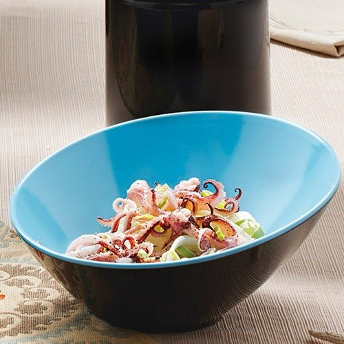 GET B-788-BL/BK Brasilia 16 oz. Blue and Black Melamine Bowl