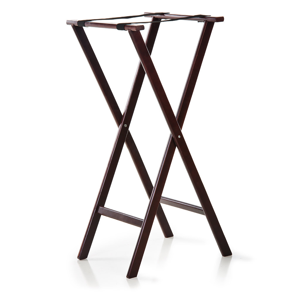 38 inch Folding Wood Tray Stand Red Brown