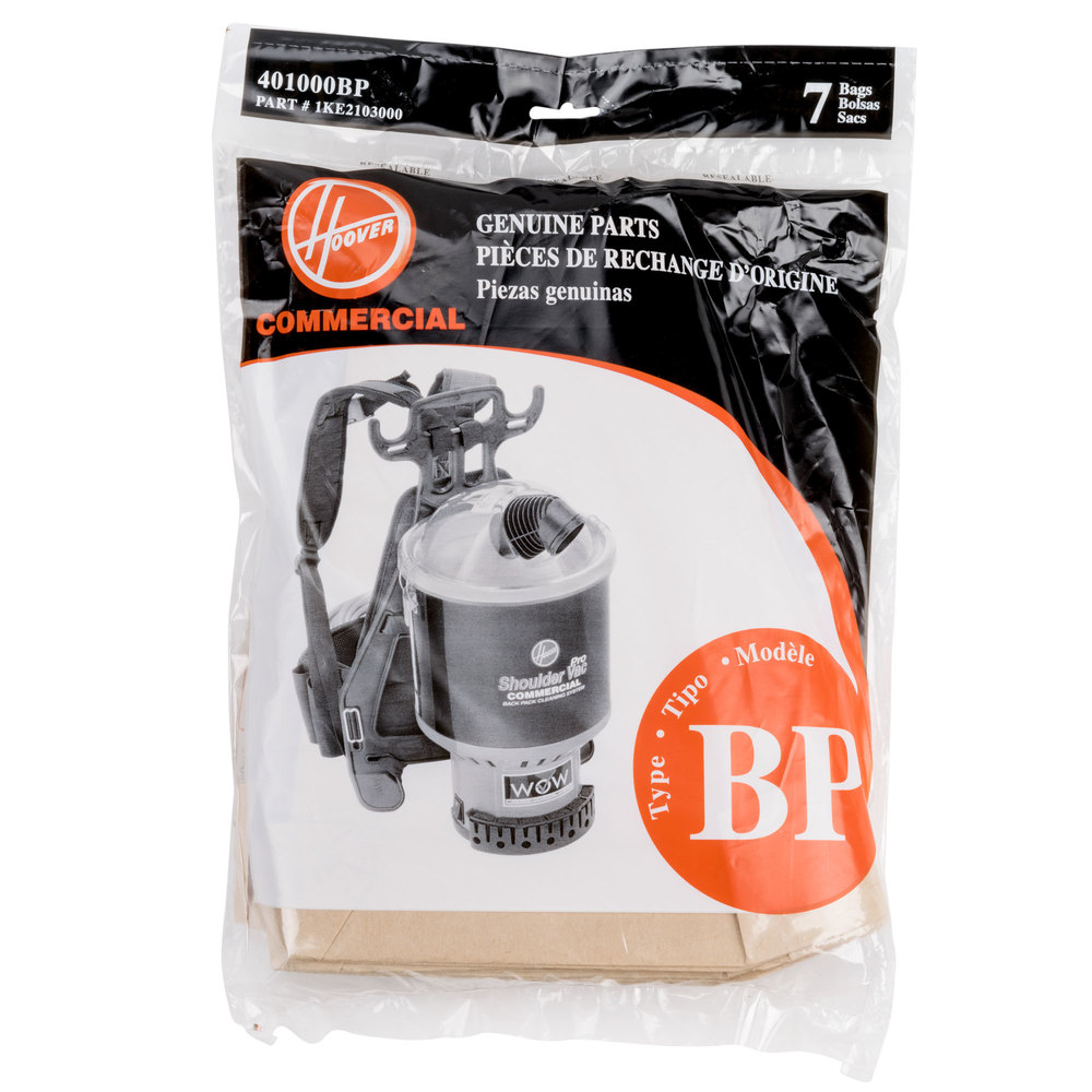 Hoover 401000BP Type BP Vacuum Bag for Backpack Canister Vacuums - 7/Pack
