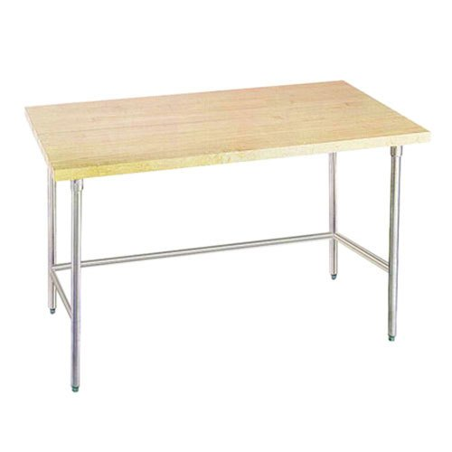 "Advance Tabco TH2G-364 Wood Top Work Table with Galvanized Base - 36"" x 48"""