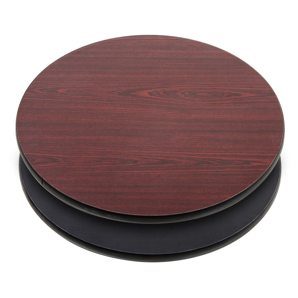 Lancaster table seating 30 laminated round table top reversible cherry black - Inch round wood table top ...