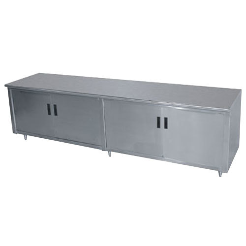 "Advance Tabco HB-SS-249M 24"" x 108"" 14 Gauge Enclosed Base Stainless Steel Work Table with Hinged Doors and Fixed Midshelf"
