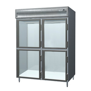 Delfield Stainless Steel SSH2-GH 51.92 Cu. Ft. Glass Half Door Two Section Reach In Heated Holding Cabinet - Specification Line