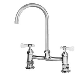 "Dormont F-DST8-G09S PowerForce Deck Mounted Swivel Gooseneck Faucet with 8"" Adjustable Centers - 12 1/2"" High with 9 1/2"" Spread"
