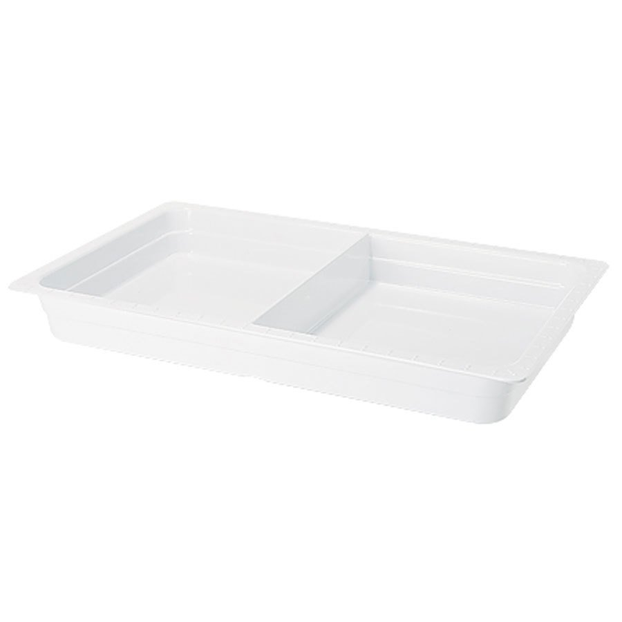 "GET ML-26-WH White Melamine Full Size Divided 2 1/2"" Deep Food Pan"