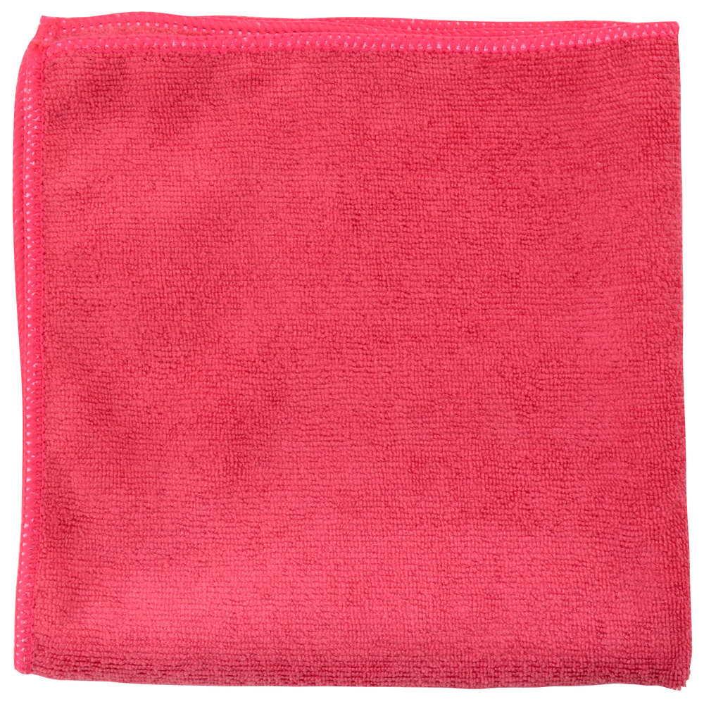 "Unger MC40R SmartColor MicroWipe 16"" x 16"" Red Light-Duty Microfiber Cleaning Cloth"